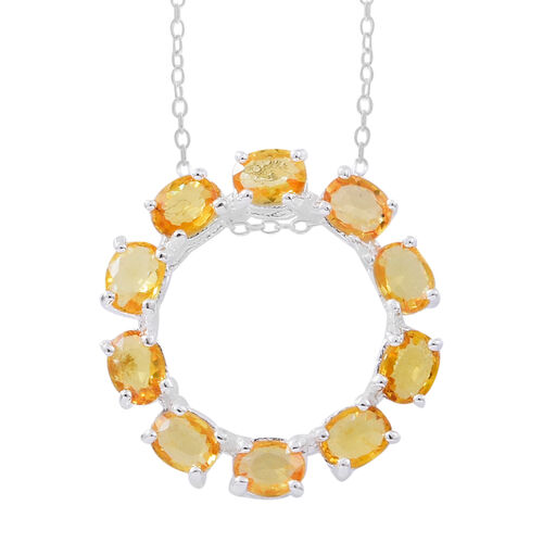Chanthaburi Yellow Sapphire (Ovl) Circle of Life Pendant with Chain in Sterling Silver 2.000 Ct.