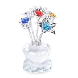 Crystal Flower Table Decor (Size 7.5x8 Cm) - Silver and Multi Colour