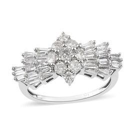 9K White Gold SGL Certified Ballerina Diamond (I3/G-H) Ring 1.00 Ct.