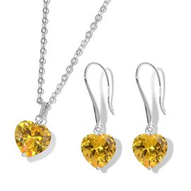 2 Piece Set  - Simulated Yellow Sapphire (Hrt 8 mm) Heart Pendant With Chain (Size 18 with 2 inch Ex