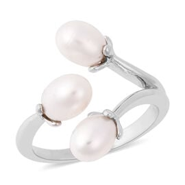 LucyQ White Freshwater Pearl Floral Bud Design Bypass Ring in Rhodium Overlay Sterling Silver
