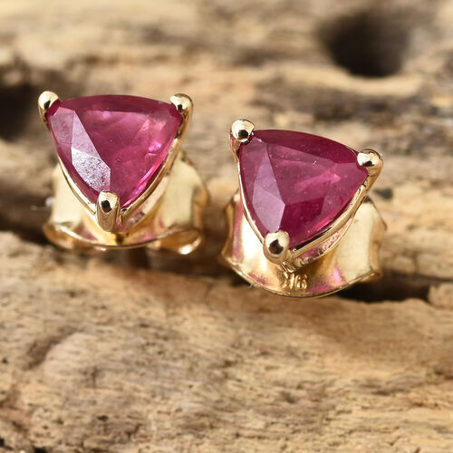One Time Deal- 9K Yellow Gold AA African Ruby (Trl) Stud Earrings (with Push Back) 1.250 Ct.