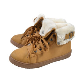 Womens Flat Faux Fur Lined Grip Sole Winter Ankle Boots Camel