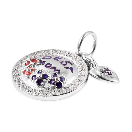 Charmes De Memoire - Simulated Amethyst and Simulated Diamond Enamelled Charm in Sterling Silver