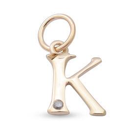 9K Yellow Gold Diamond Initial K Pendant