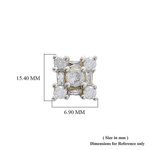 9K Yellow Gold SGL Certified Diamond (I3 / G-H) (Rnd & Bgt) Floral Earrings (with Push Back) 0.500 Ct.