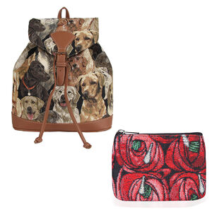 Signare Tapestry - 2 Piece Set - Cat Design Backpack and FREE Mackintosh Simple Rose Zip Coin Purse - Beige and Multi (Navigation Fashion & Home Accessories) photo