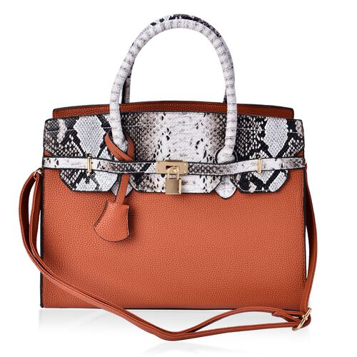 Belgravia Snake Skin Pattern Light Tan Colour Tote Bag with Adjustable and Removable Shoulder Strap (Size 35x28x10 Cm)