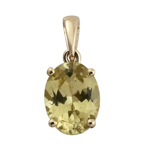 9K Yellow Gold Very Rare AAA Madagascar Yellow Apatite (Ovl 10X8 mm) Solitaire Pendant 2.750 Ct.