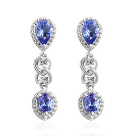 1.50 Ct Tanzanite Dangle Earrings in Platinum Plated Sterling Silver