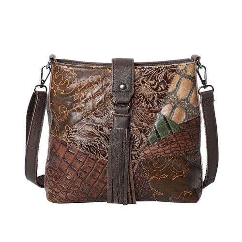 100% Genuine Leather Vintage Printed Crossbody Bag with Tassel (Size 25x24x8cm) - Multi Colour