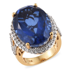 Ceylon Colour Quartz (Ovl 20.25 Ct), Natural White Cambodian Zircon Ring in 14K Gold Overlay Sterling Silver 21.250 Ct, Silver wt 7.00 Gms