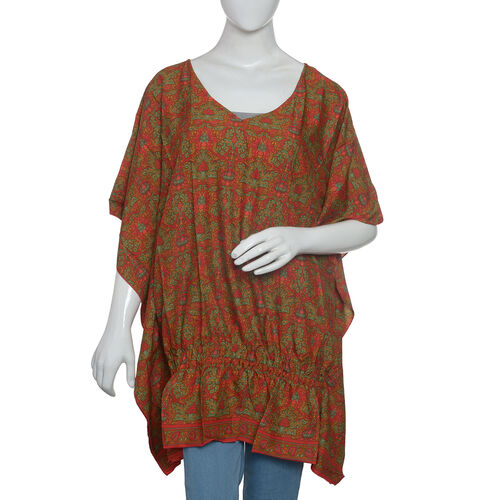 Red, Green and Multi Colour Damask Print Top (Size 80x70 Cm)
