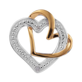 Diamond (Rnd) Heart Pendant in Platinum and Yellow Gold Overlay Sterling Silver