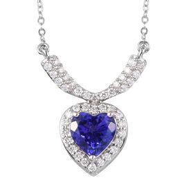 RHAPSODY 950 Platinum AAAA Tanzaite and Diamond Heart Necklace (size 18) 1.48 Ct.