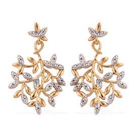 Designer Inspired-Diamond (Rnd) Leaf Earrings (with Push Back) in 14K Gold and Platinum Overlay Ster
