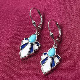 Arizona Sleeping Beauty Turquoise Enamelled Earrings in Platinum Overlay Sterling Silver 0.750 Ct.