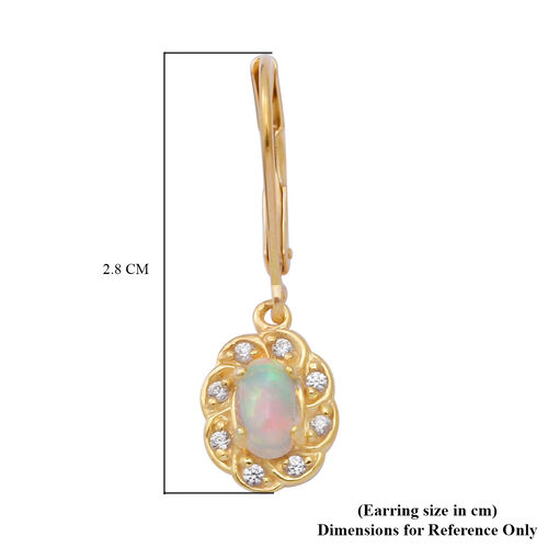 Ethiopian Welo Opal and Natural Cambodian Zircon Lever Back Floral Earrings in Yellow Gold Overlay Sterling Silver
