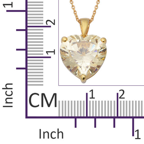 ELANZA Swiss Star Yellow Cubic Zirconia (Hrt 15 mm) Heart Pendant With Chain (Size 18) in Yellow Gold Overlay Sterling Silver
