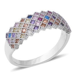 ELANZA Multi Colour Simulated Sapphire (Rnd) Ring in Rhodium Overlay Sterling Silver