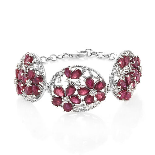Limited Edition African Ruby and Natural White Cambodian Zircon Floral Bracelet in Silver 21.75 Ct