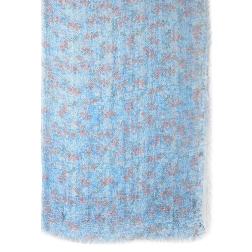 Blue, Grey and Pink Colour Small Flower Pattern Scarf (Size 170x90 Cm)