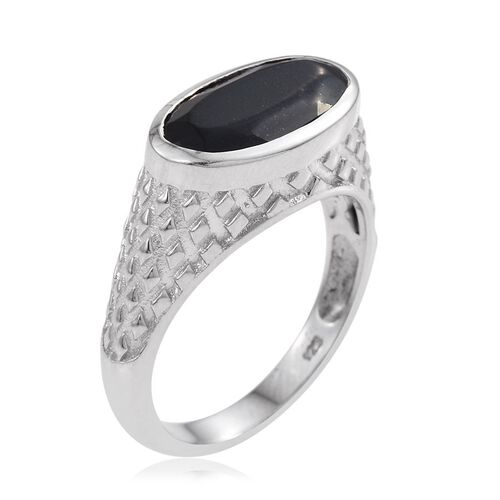 Australian Midnight Tourmaline (Ovl) Solitaire Ring in Platinum Overlay Sterling Silver 3.500 Ct. Silver wt 5.21 Gms.