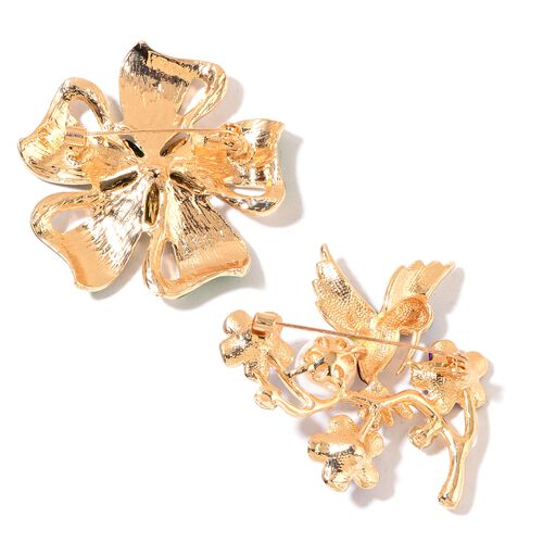 Set of 2 - AAA Simulated White Pearl, White, Black and Magic Colour Austrian Crystal Enameled Floral and Humming Bird Brooch in Yellow Gold Tone