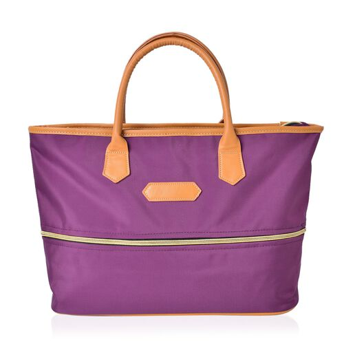 Winter Purple Colour Foldable Waterproof LargeTote Bag (Size 44X34X12 Cm)