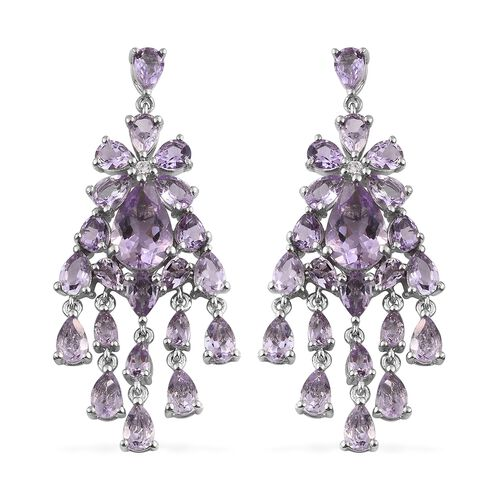 Rose De France Amethyst (Pear), Natural Cambodian Zircon Chandelier Earrings (with Push Back) in Pla
