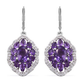 7.25 Ct Amethyst and Cambodian Zircon Lever Back Earrings in Sterling Silver 6.50 Grams