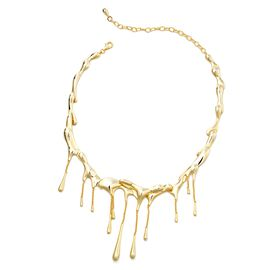 LucyQ Yellow Gold Overlay Sterling Silver Drip Necklace (Size 16 with 4 inch Extender), Silver wt 74.34 Gms.