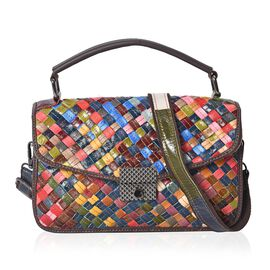 100% Genuine Leather Weave Pattern Crossbody Flap Bag with Detachable Shoulder Strap (Size 26x11x18