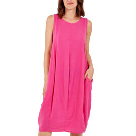 Nova of London Round Neck Two Pocket 50% Cotton & 50% Linen Dress (Upto Size 18) - Pink