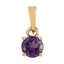 Amethyst (Rnd) Solitaire Pendant in 14K Gold Overlay Sterling Silver 0.500 Ct.