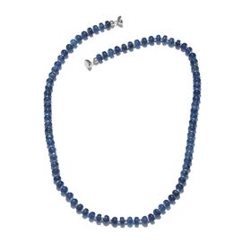 Extremely Rare Kashmir Blue Kyanite Necklace (Size 20) with Magnet Lock and Silver Ball in Platinum Overlay Sterling Silver 160.000 Ct