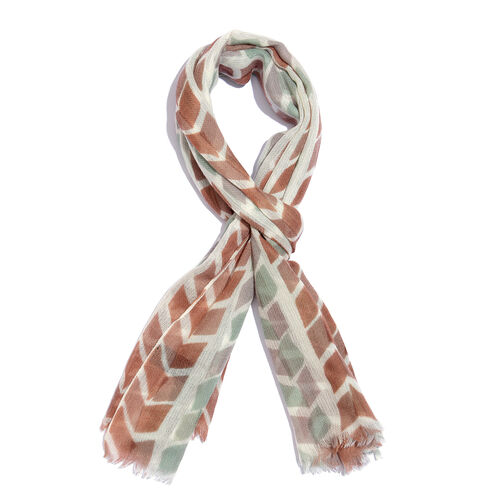 One Time Deal-100% Merino Wool Brown, Sea Green and Multi Colour Directional Pattern Scarf with Frin