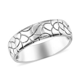Artisan Crafted - Sterling Silver Cobbled Pattern Band Ring (Size L)
