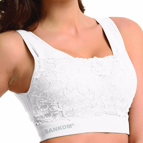SANKOM SWITZERLAND Patent Classic with Lace Bra - White (Size XL / XXL)