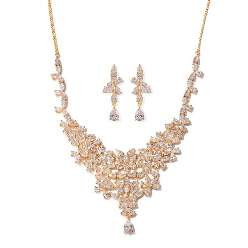 J Francis - 14K Gold Overlay Sterling Silver (Pear) Necklace (Size 18) and Earrings (with Push Back) Made with SWAROVSKI ZIRCONIA