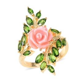 Jardin Collection - Pink Mother of Pearl and Russian Diopside Rose Ring in Yellow Gold Overlay Sterl