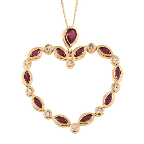 African Ruby (Pear), White Topaz Heart Pendant with Chain in 14K Gold Overlay Sterling Silver 3.000 Ct. Silver wt 5.38 Gms.