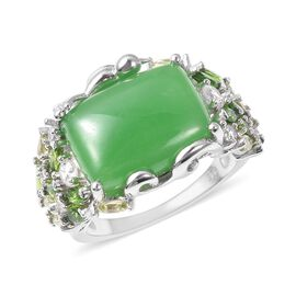 12.25 Ct Green Jade and Multi Gemstone Classic Ring in Rhodium Plated Silver