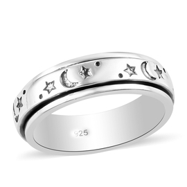 Platinum Overlay Sterling Silver Artisan Crafted - Sun & Moon Spinner Ring