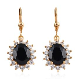 11 Carat Boi Ploi Black Spinel and Zircon Drop Halo Earrings in 14K Gold Plated Silver