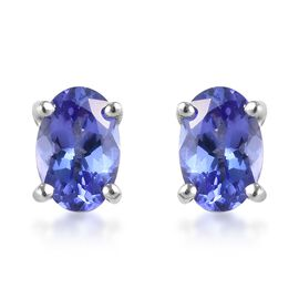 9K White Gold AA Tanzanite Stud Earrings (with Push Back) 1.00 Ct.