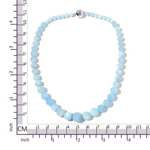Very Rare Size Espirito Santo Aquamarine Graduated Beads Necklace (Size 20) with Magnetic Clasp in Rhodium Plated Sterling Silver 403.500 Ct.