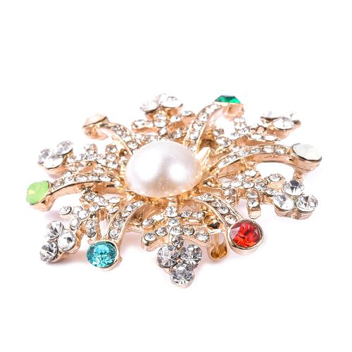 Simulated Pearl (Rnd), White Austrain Crystal Snowflake Brooch in Gold Plated