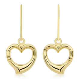 JCK Vegas Collection 9K Yellow Gold Open Heart Drop Hook Earrings