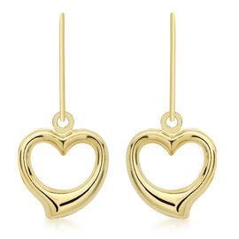 JCK Vegas Collection 9K Yellow Gold Open Heart Drop Hook Earrings, Gold wt 1.00 Gms